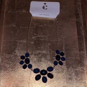 NWT Charming Charlie Gold and blue stone necklace